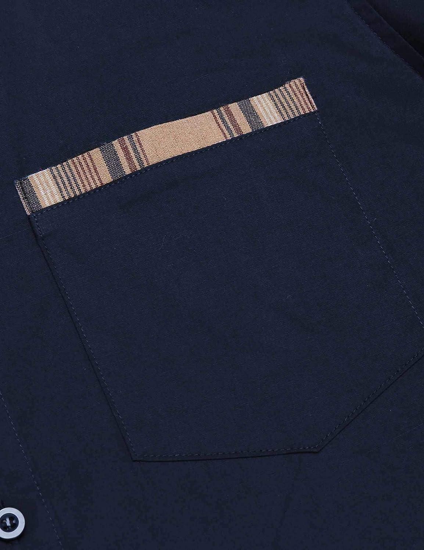 JINIDU Mens Casual Cotton Slim Fit Dress Shirt Plaid Collar Long Sleeve Button Down Shirt