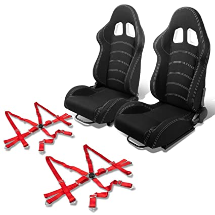 Black Red Stitching Speed Buckle Racing Seat Reclinable Style ...