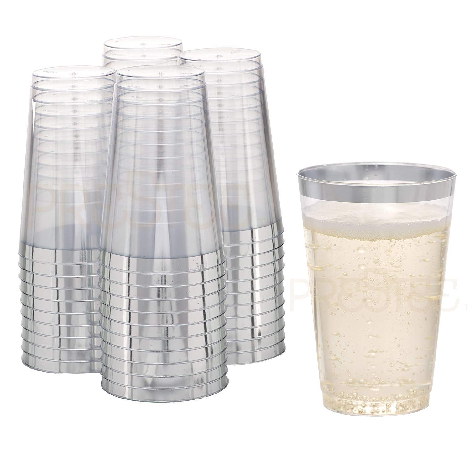 DRINKET Silver Plastic Cups 14 oz Clear Plastic Cups   Tumblers Fancy Plastic Wedding Cups with Silver Rim 50 Ct Disposable for Party Holiday and Occasions