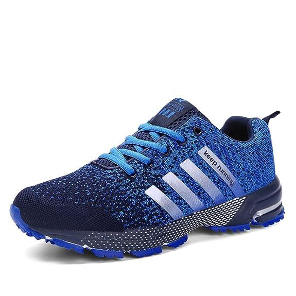 Sollomensi Zapatos para Correr en Montaña y Asfalto Aire Libre y Deportes Zapatillas de Running Padel para Hombre Azul 43