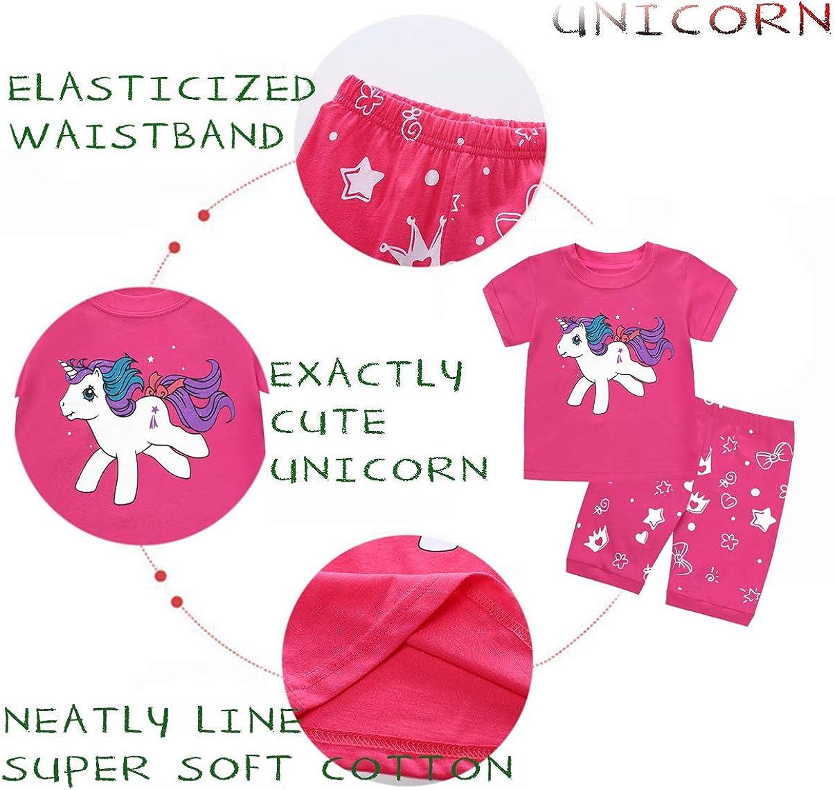 EULLA Girls Pyjamas Unicorn Toddler Clothes Children Short Pjs Set Flamingo Short Sleeve 100/% Cotton Sleepwear Outfit 1-7 Years
