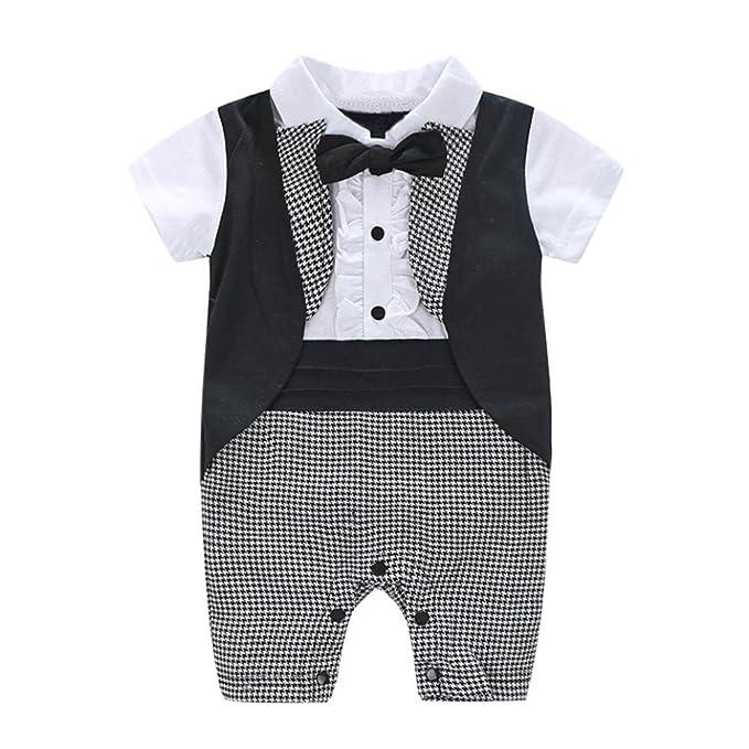 Peleles Bebe Niño Vestir, 🐬 Zolimx Bebés Recién Nacidos Caballero Pajarita Tartán Swallowtail Mameluco