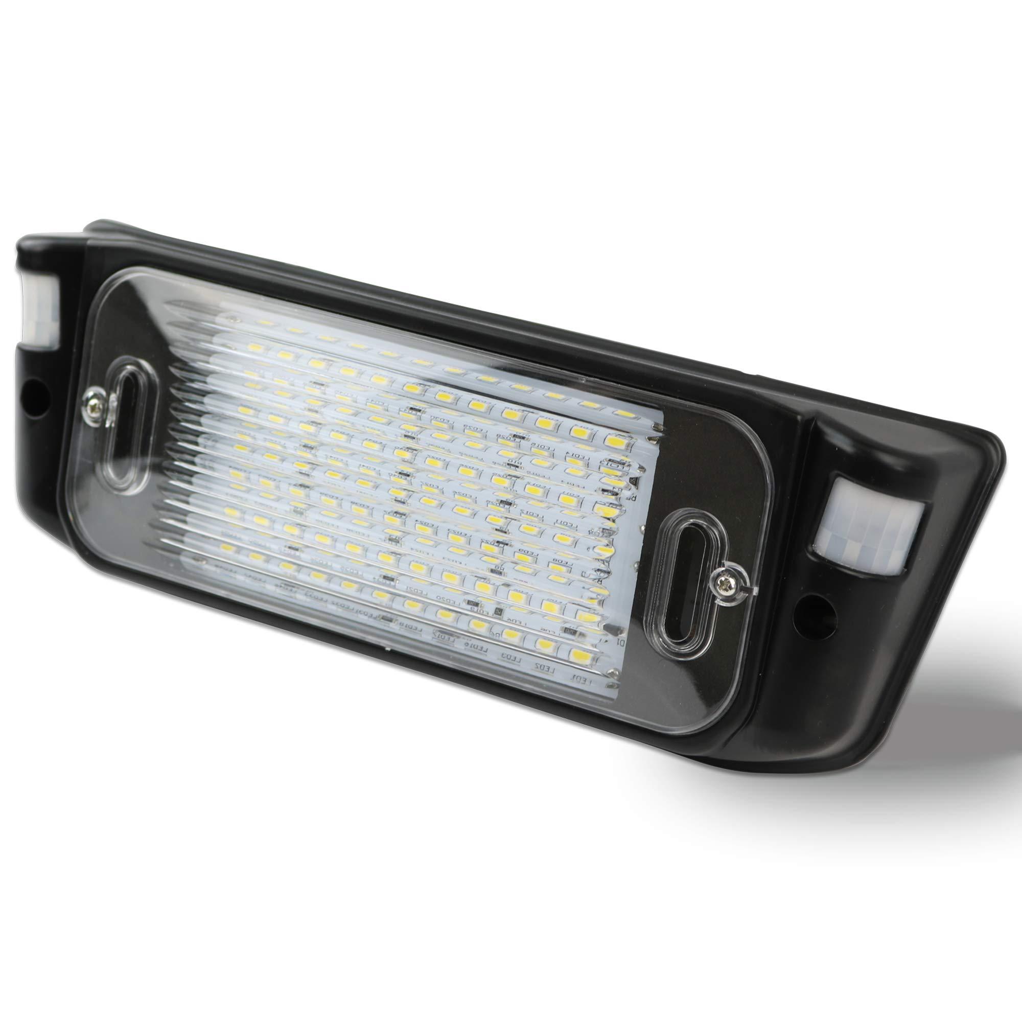 Leisure LED RV Motion Sensor Exterior Porch Utility Light - Black 12v Lighting Fixture Kit with LED Panel for Bright Lighting at Night Trailer 700 Lumen (Black) by Leisure LED