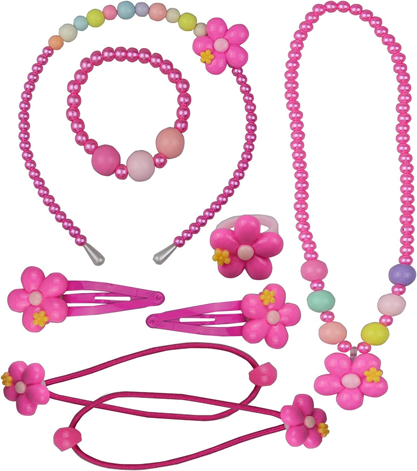 Kici Little Girls Jewelry Necklace Bracelet Ring Hair Clips Set Pink Flower for Children kids Party Play Pretend Dress Up
