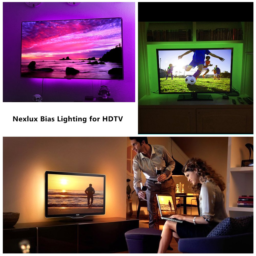 Nexlux TV Backlight, 9.8ft Black USB LED Strip Lights Kit TV Lights 20 Colors 5050 LEDs Bias Lighting with 44-Key IR Remote Controller for 46 inch~65 inch HDTV PC Monitor Home Theater Decoration by Nexlux (Image #7)