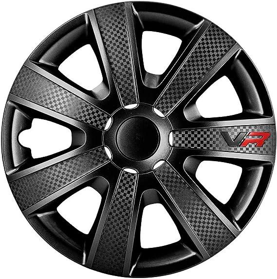Satz Radzierblenden Vr 15 Zoll Schwarz Karbon Look Logo Auto