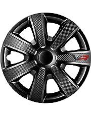 AutoStyle VR Nero Set Copricerchio VR Nero/Carbon Look/Logo, 4 Pezzi