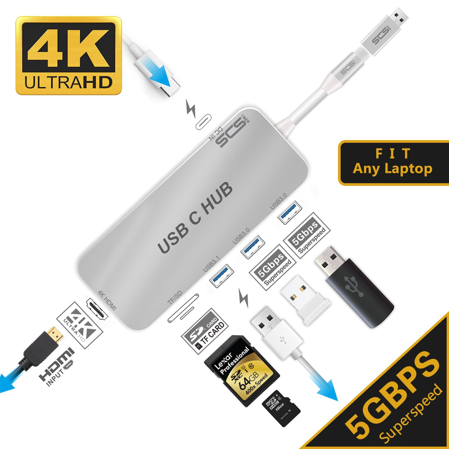 USB C Hub,SCS ETC USB C Adapter 3.1 with Type C Power Charging Port, HDMI 4K Port,3USB 3.0 Port,SD&TF Card of USB C Laptop, Equipped with a Separate USB Suitable for any Computer Device (Silver) by SCS ETC