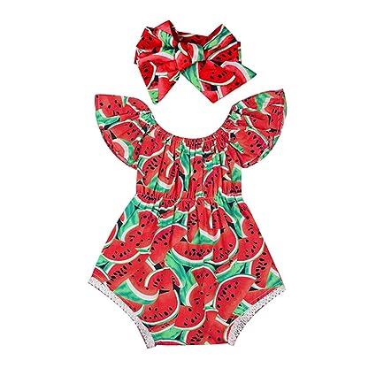 puseky bebé niñas sandía volantes Pelele Body Ropa de verano y diadema Set rojo rosso Talla