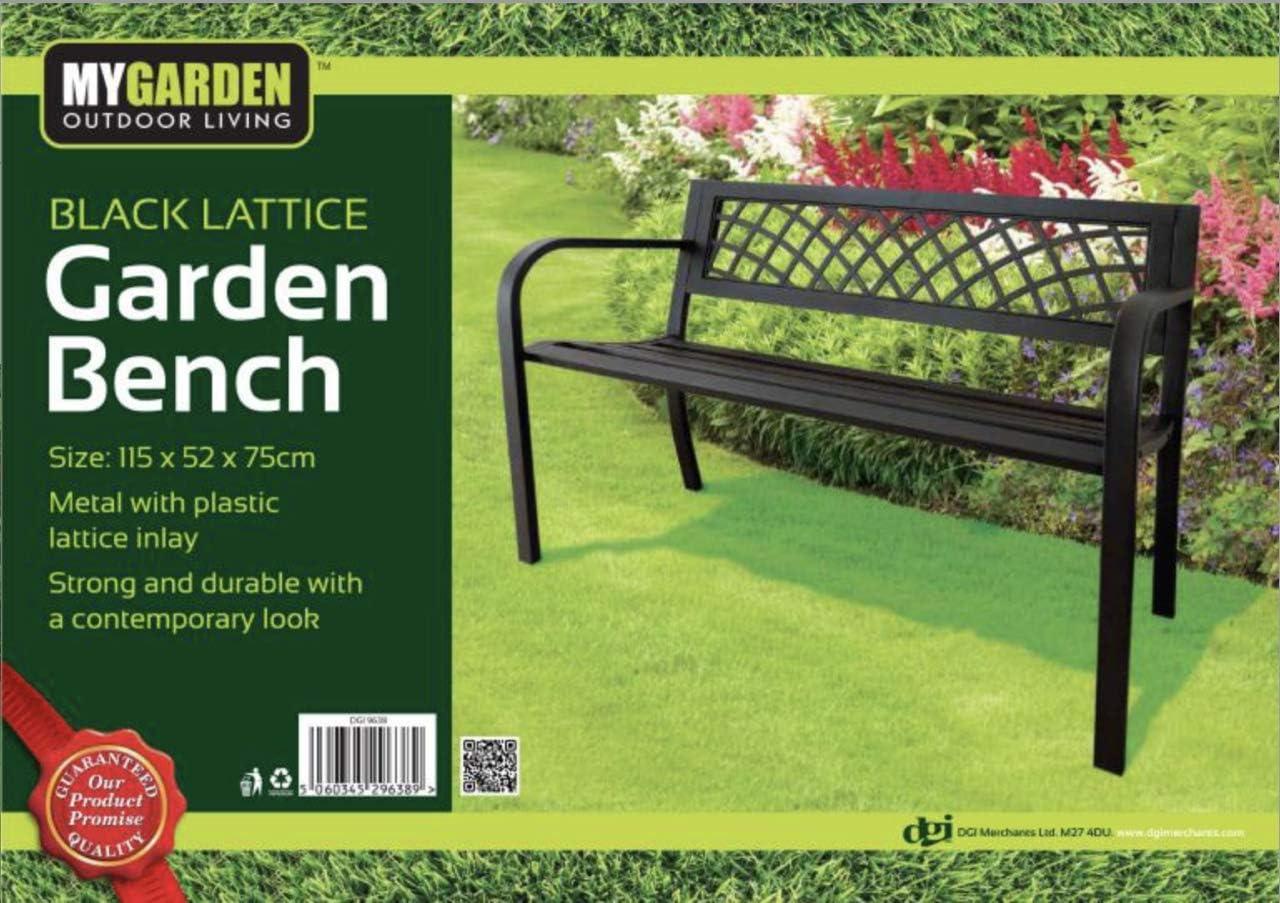 Free Cover 9638 Lettuce Eat/® Mygarden Black Metal Bench With Plastic Lattice Insert