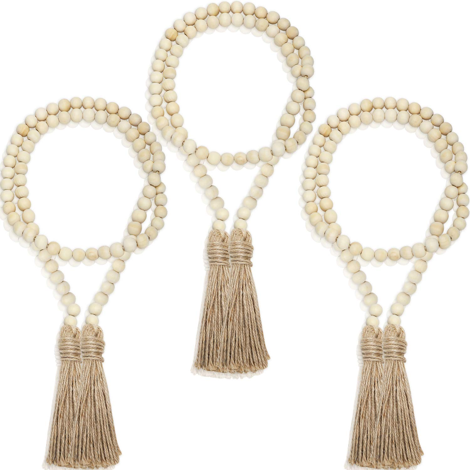 3 Pieces Christmas Wood Bead Garlands Rustic Bead Garlands with Tassels 3.7 Feet Farmhouse Bead Tassel Hanging Garland for Christmas Home Decoration