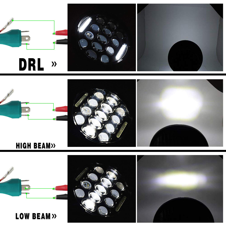 Uni-light J006-2pcs 7 inch LED Headlights Round Angel Eyes Cree 6000K Hi//lo Beam and DRL lamp Halo for Jeep Wrangler JK TJ LJ Harley Davidson