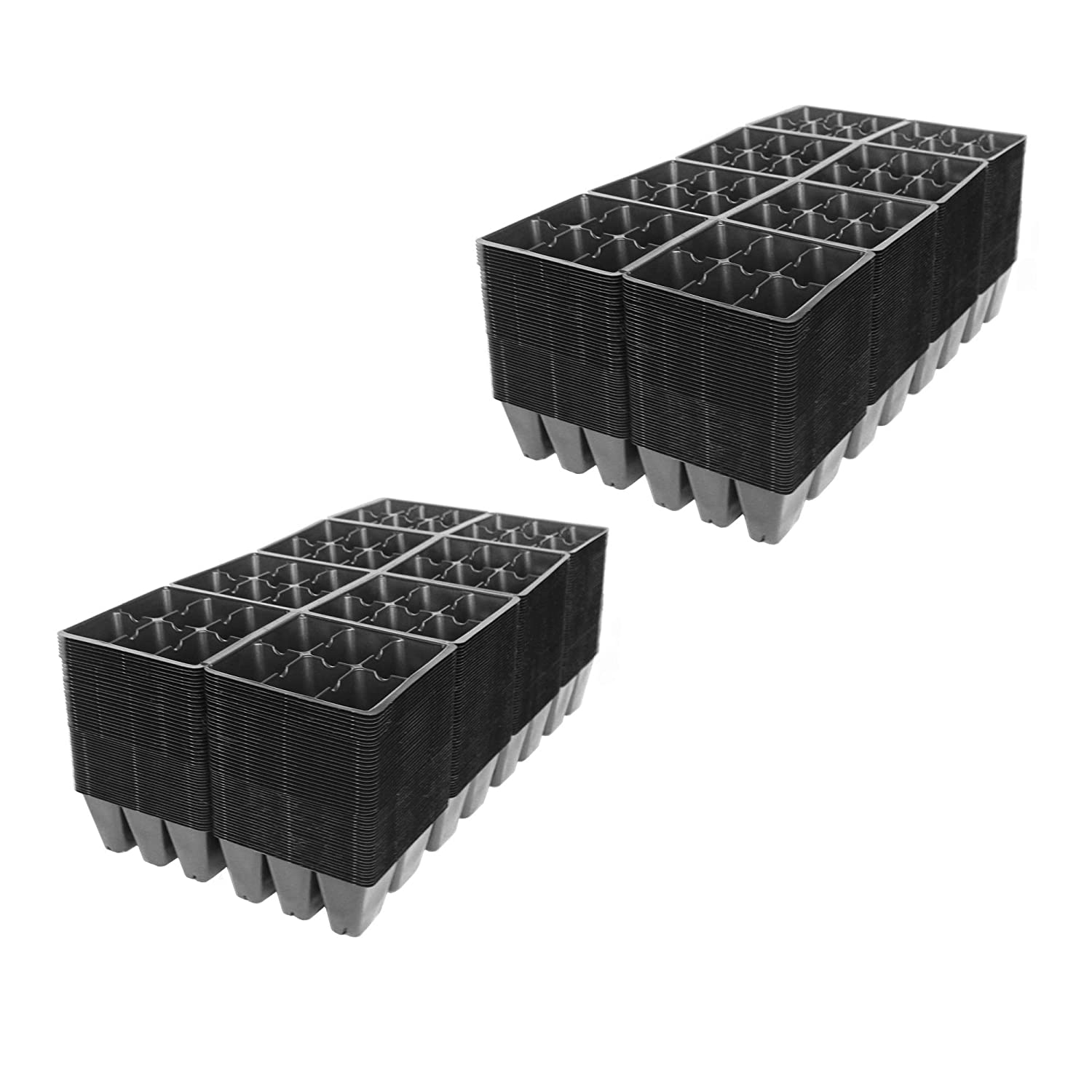 Greenhouse 5 Sheet of 48 Planting Pot Cells Each 2x3 Nested x8 Configuration Perforated Nursery Handy Pantry Black Plastic Garden Tray Inserts Gardening