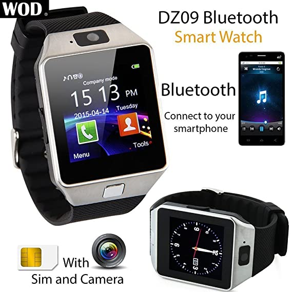Amazon.com : Hangang SmartWatch Fitness Pedometer Bluetooth Running Watch Sports Watch 1.56 Large Touch Screen Phone Call & Text Reminder DZ09 (black) ...