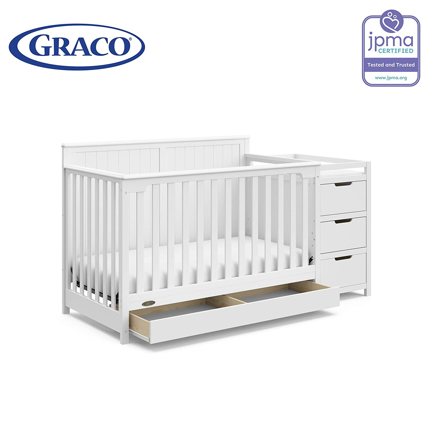 Graco Hadley 4 in 1 Convertible Crib Changer with Drawer Espresso Mattress Not Included Three Position Adjustable Height Mattress Easily Converts to Toddler Bed Day Bed or Full Bed