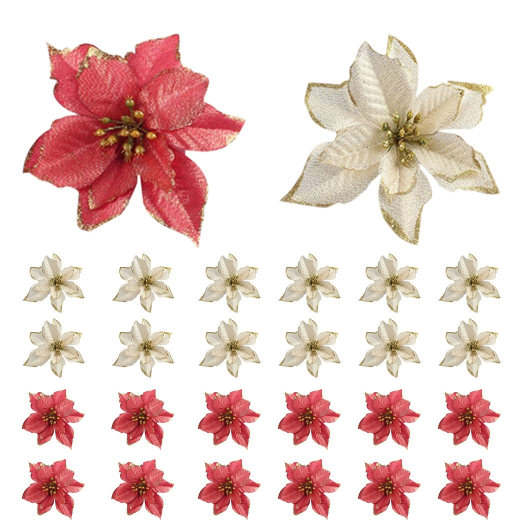 Bageek Christmas Tree Ornaments Sets 104PCS Christmas Tree Decorations and Hanging Ornaments Poinsettias Artificial for Christmas Tree
