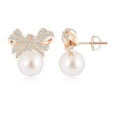 Angara South Sea Cultured Pearl Stud Earrings with Pave Diamonds H1fkJQW7