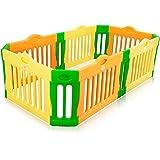 BABY VIVO Parque corralito plegable puerta robusto plastico bebe barrera de seguridad jugar - Parque Infantil Rectangular