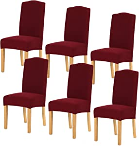 TIANSHU Stretch Dining Room Chair Cover for Home Decor Durable Washable Dining Chair Slipcover Antislip Parson Chair Cover (6 Pack, Dark Wine)
