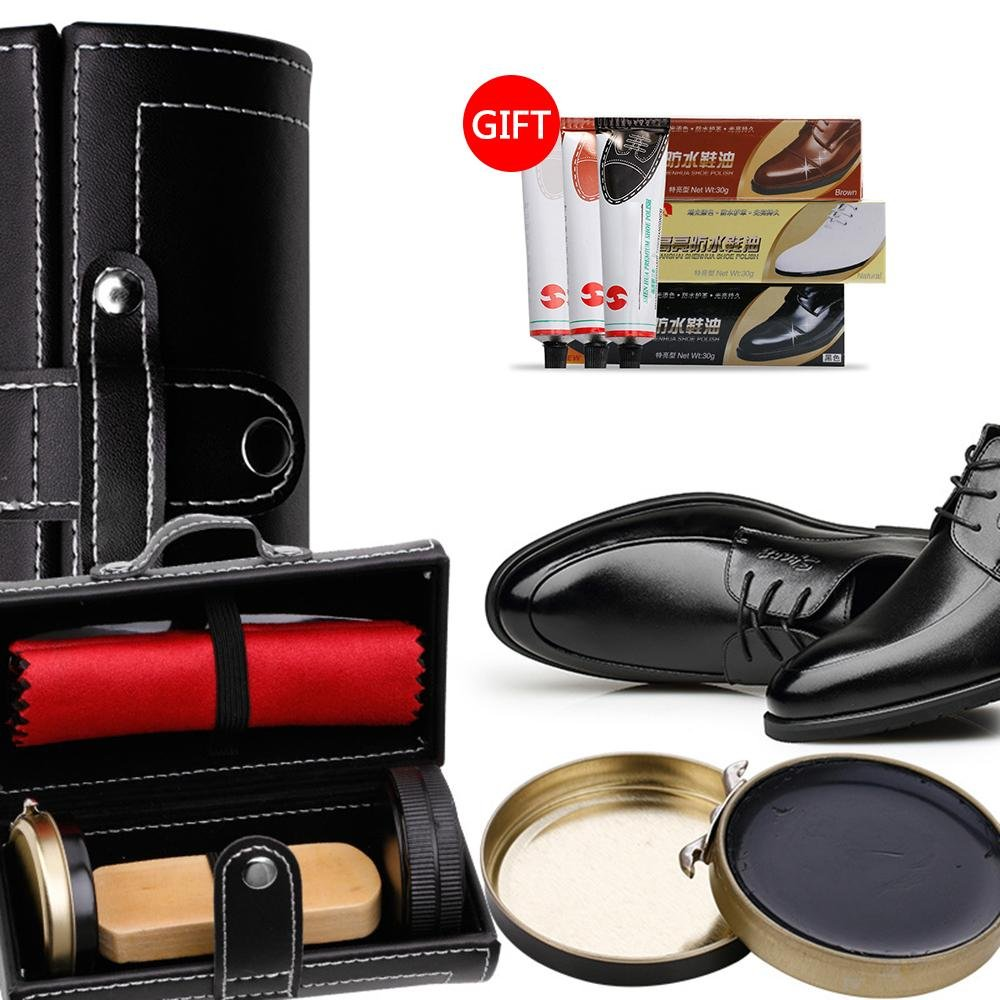 Shoe Shine Brush Set,AOLVO Leather Shoes Care Cleaning Polish Tools Set with Portable Black Leather Case, Travel Shoe Shine Care Kit 6 Piece by AOLVO (Image #1)
