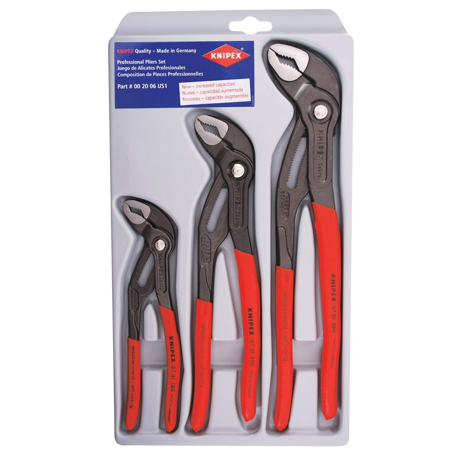 KNIPEX Tools 00 20 06 US1, Cobra Pliers 7, 10, and 12-Inch Set, 3-Piece (Pack of 4-)