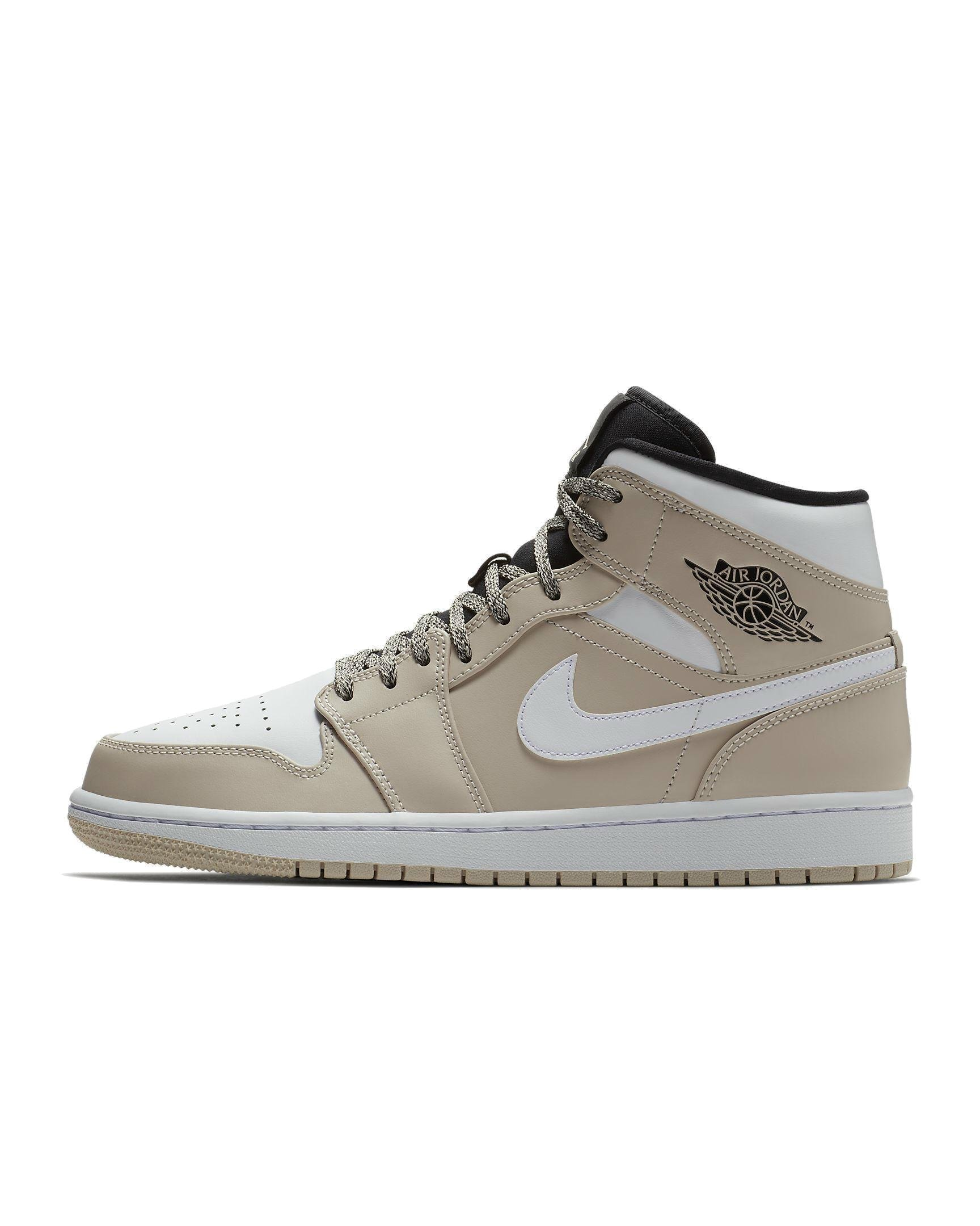 03942d9a85cc Galleon - NIKE Men s Air Jordan 1 Mid Shoe Desert Sand White Black (11.5  D(M) US)