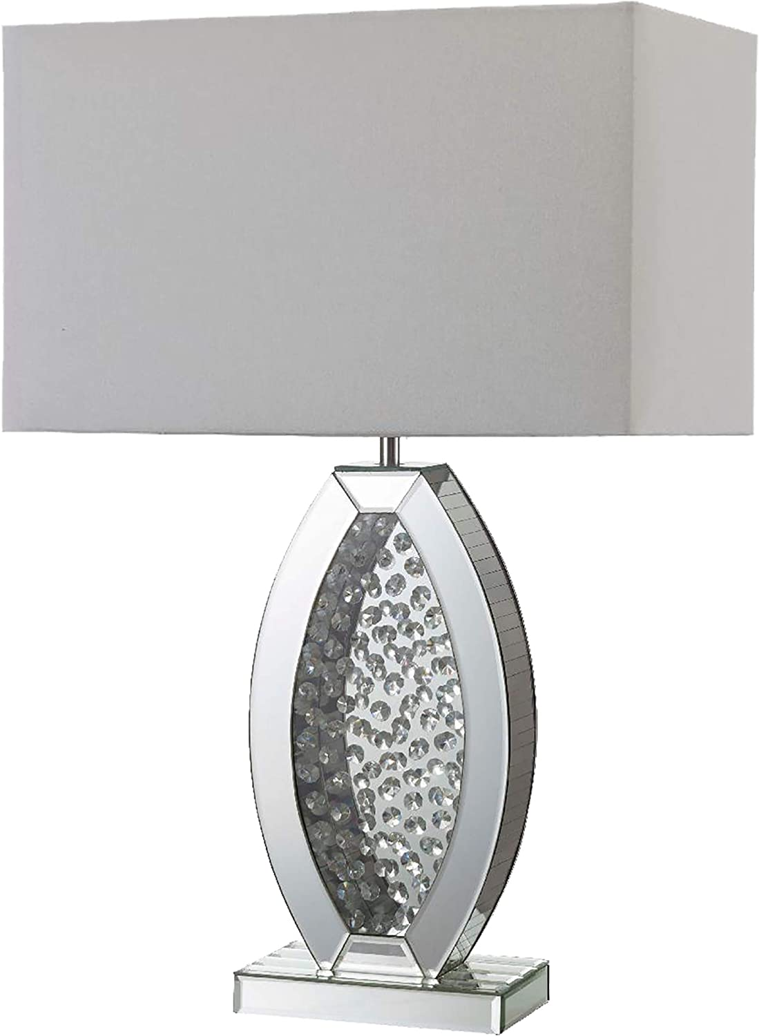 Ore International 30 5 Neville Crystal Ice Table Lamp In Silver Clear