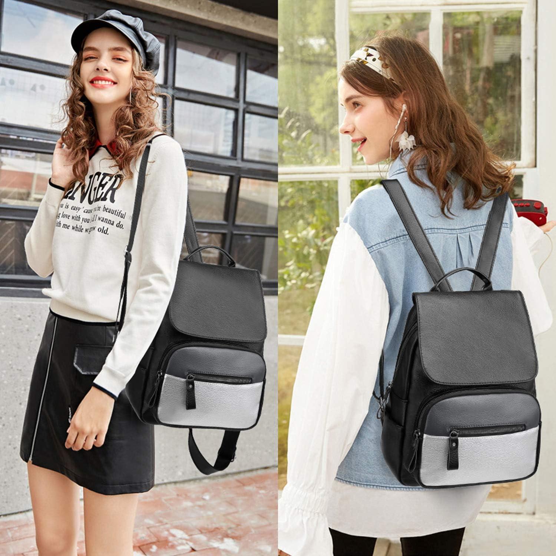 I IHAYNER Rucksack Damen Rucks/äcke f/ür Frauen Kleine Rucksack Weiche PU leder N/ähte Farbe Mini Umh/ängetasche Daypack Travel Schultaschen