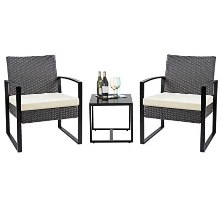 Flamaker 3 Pieces Patio Set Outdoor Wicker Patio Furniture Sets Modern Bistro Set Rattan Chair Conversation Sets with Coffee Table