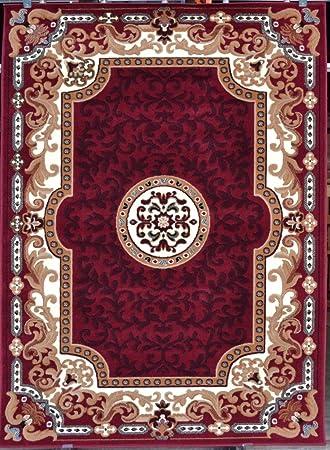 2034 Burgundy Beige Ivory 8x10 (7u002710x10u00276) Area Rug Oriental Carpet