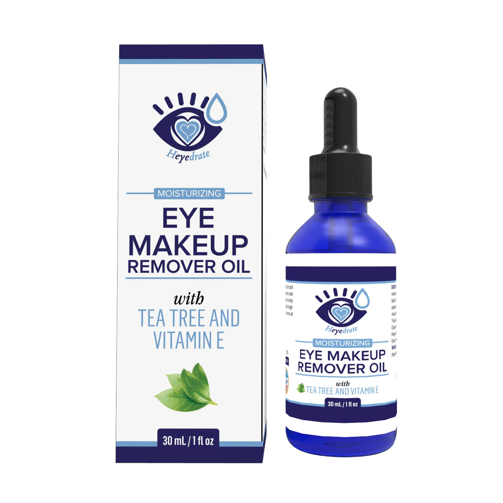 Gentle, Waterproof Eye Makeup Remover - Moisturizing & Organic with Vitamin E and Tea Tree Oil to Support Dry, Itchy Eyelids and Irritated Eyes (1-Pack)