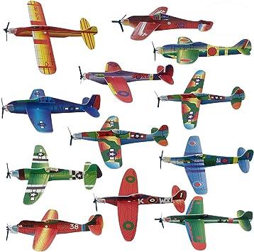 THE TWIDDLERS 48 Aviones planeadores de Papel - Niños Aeroplanos voladores en 12 diseños Distintos Detalles de Fiesta, Rellenos de Bolsas de Fiesta. - Artes y Manualidades: Amazon.es: Juguetes y juegos