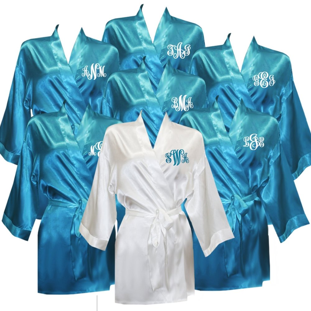 Set of 7 Monogrammed Satin Robes by Classy Bride