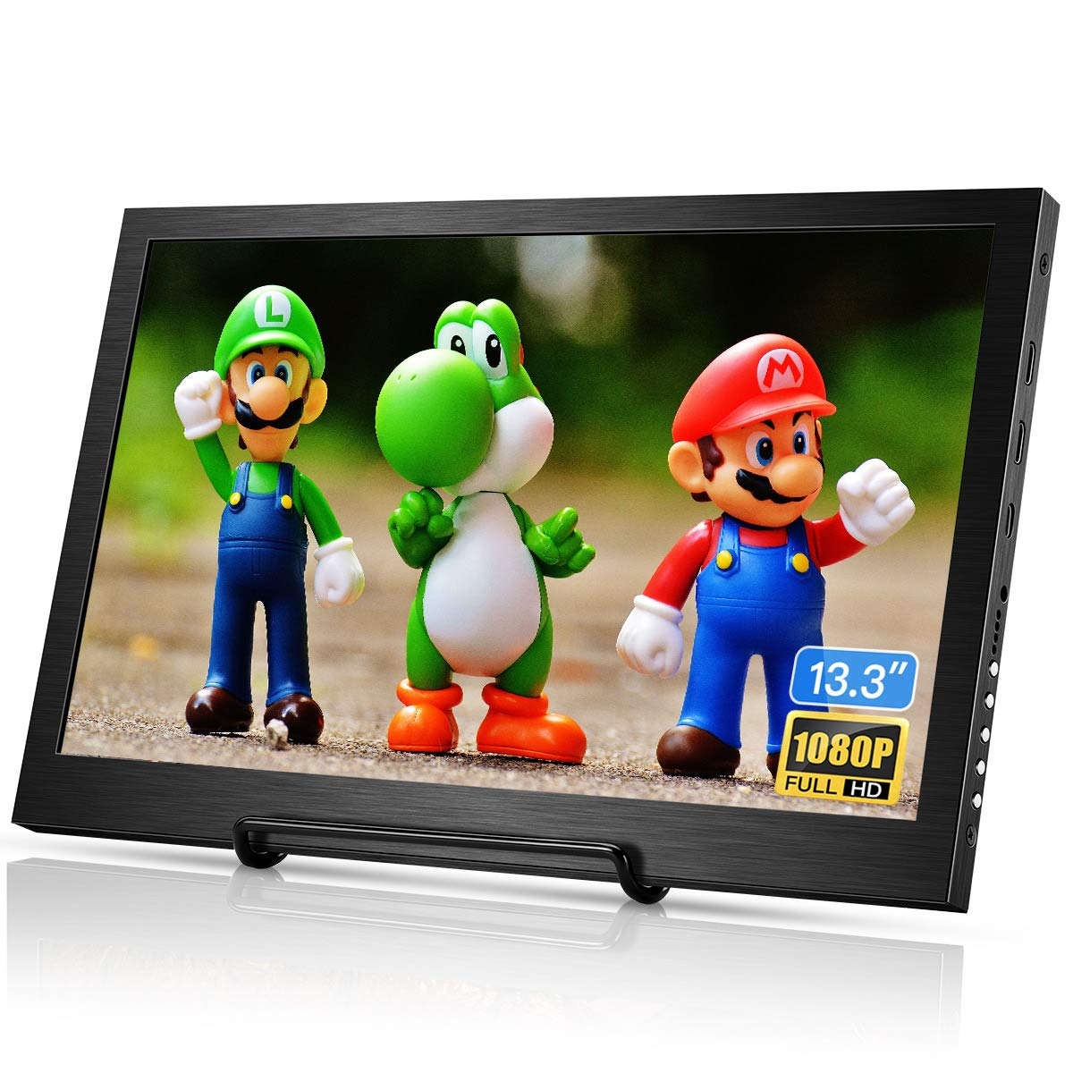 Eyoyo 13.3 inch Portable Monitor HDMI Input Gaming Monitor 1080P HDR IPS Display Compatible with PS3 PS4 Xbox One Xbox 360 Raspberry Pi Wii U Laptop PC DVR w Dual Speaker