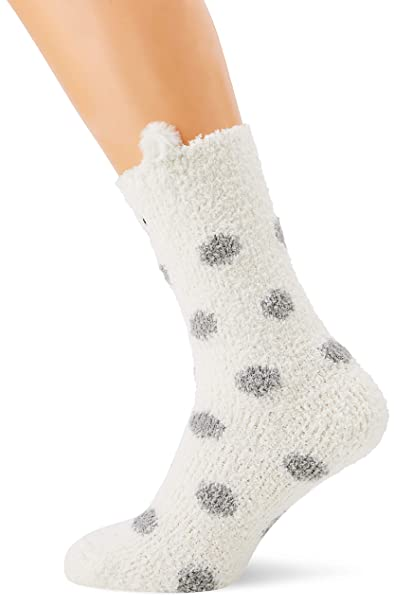 Fat Face Fluffy Polar Bear, Calcetines para Mujer, Off-White (Cream Nat