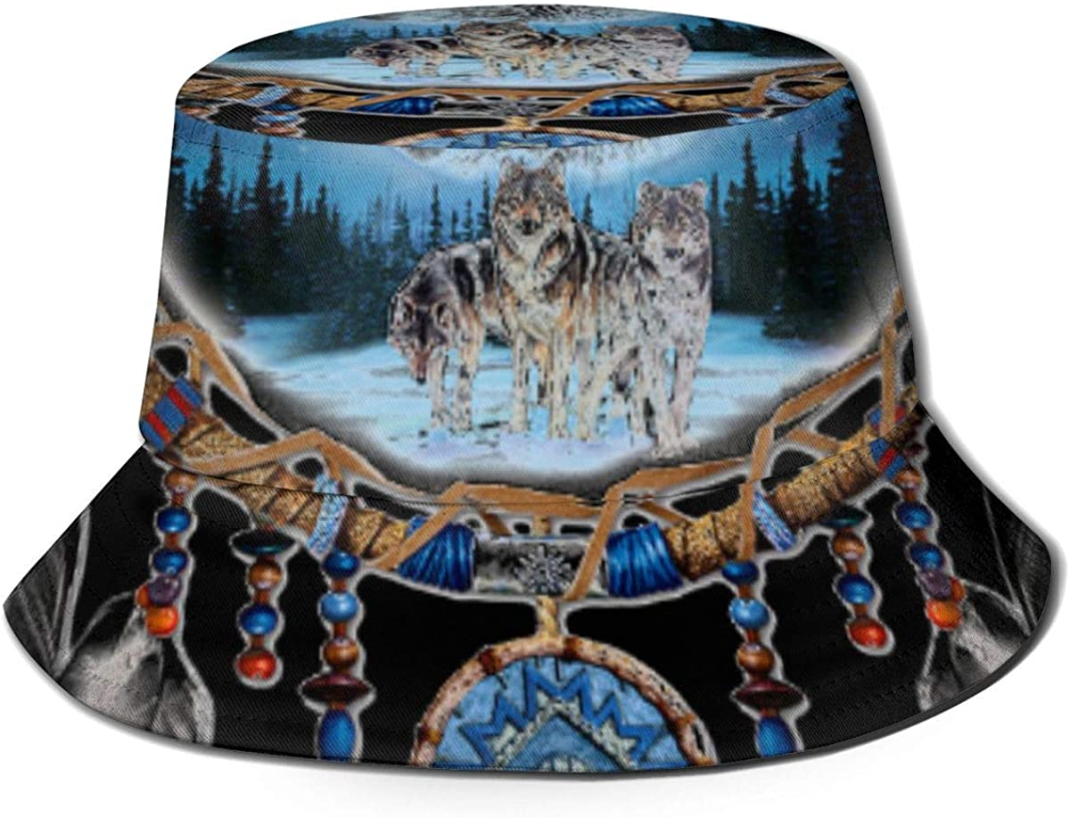 NA Unisex Washed Cotton Packable Fishing Summer Travel Bucket Hat Outdoor Cap Wolf And Indian Dream Catcher