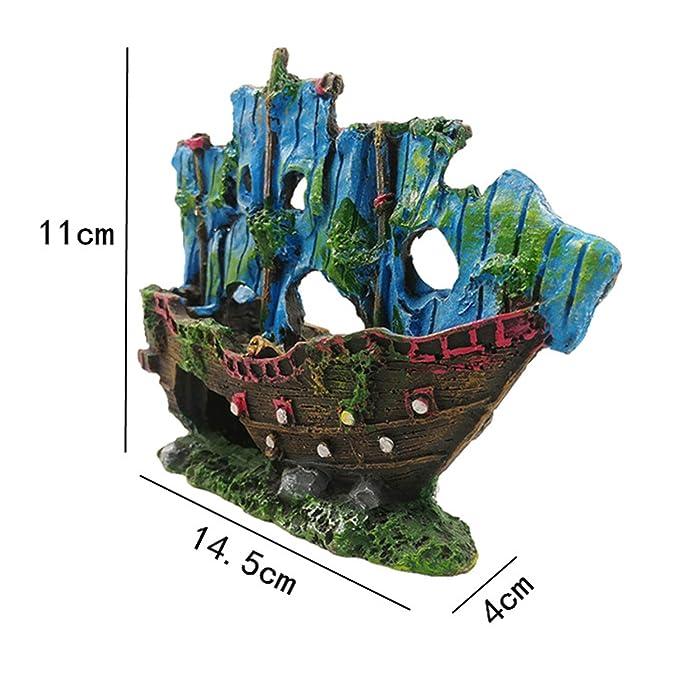 PietyPet Adornos para Acuario, 9 Plantas Verdes de Acuario de Plástico y Barco Adornos Cueva de Roca Pecera Acuario: Amazon.es: Productos para mascotas