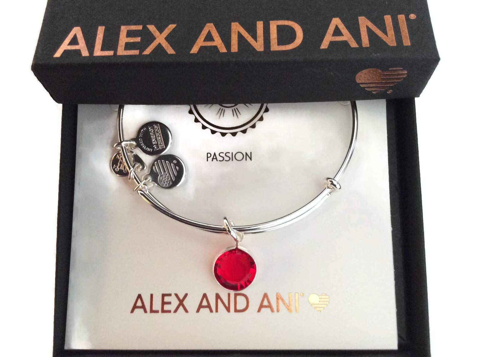 Alex and Ani Women's Swarovski Color Code Bangle July Light Siam Bracelet, Shiny Silver