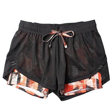 Sporthose Fitness Damen Farben Hosen Gitter 2 1 Shorts Kurze Verbindung In Atmungsaktiv Doppelt OkP0Z8wXNn