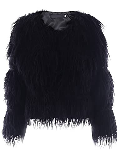 Ropa de invierno calido Simplee mujeres Shaggy faux Rur larga chaqueta de abrigo abrigos