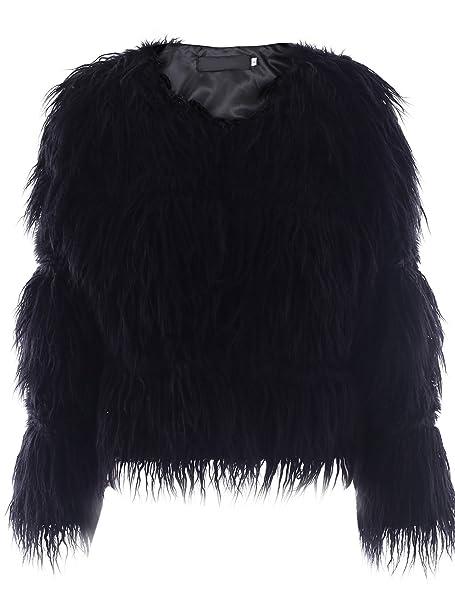 Ropa de invierno calido Simplee mujeres Shaggy faux Rur larga chaqueta de abrigo Abrigos Negro: Amazon.es: Ropa y accesorios