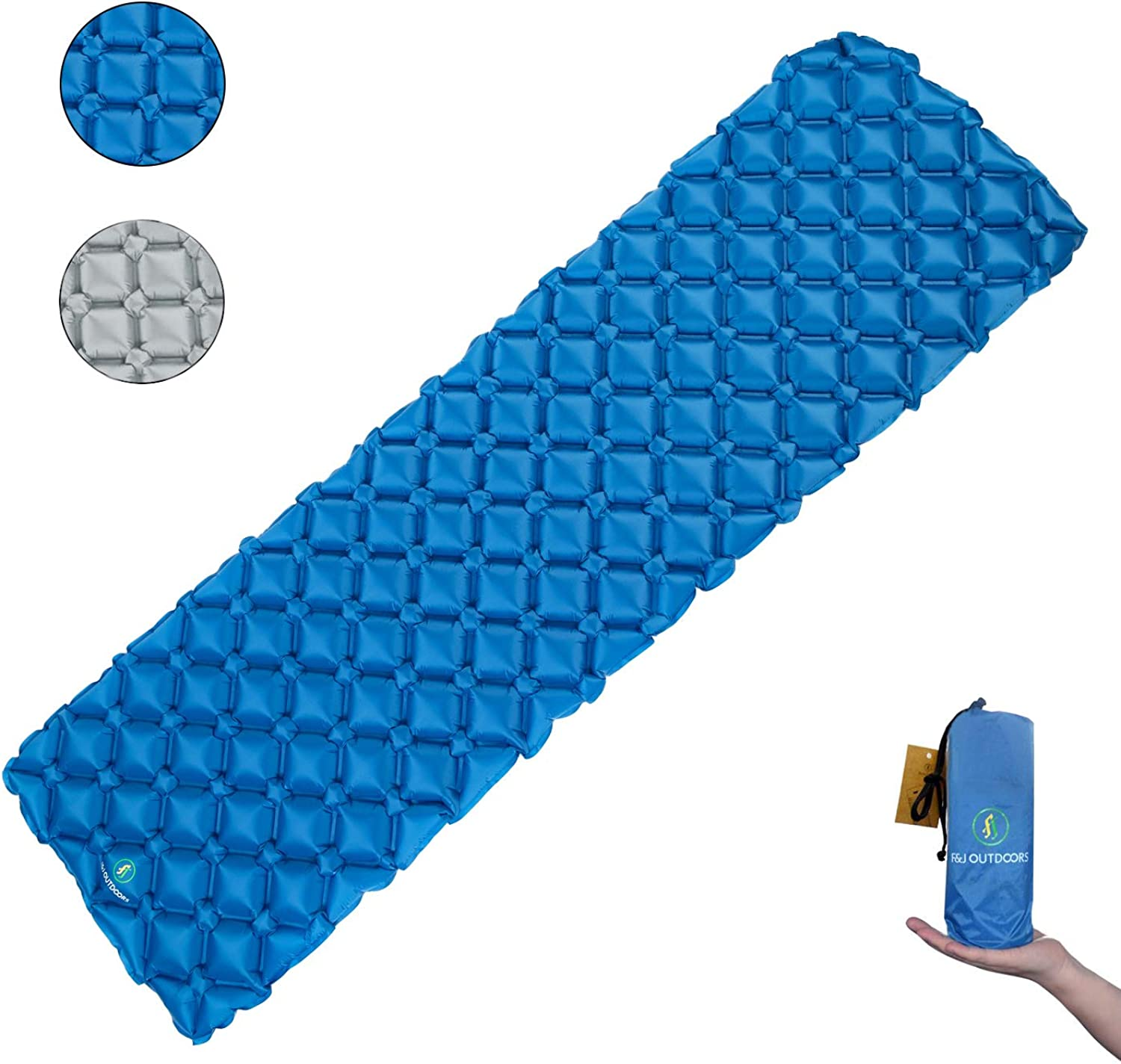 F J outdoors Camping Sleeping Pads, Foldable Ultralight Air Sleeping Pad for Backpacking Hiking, Durable Inflatable Insulated Sleeping Mat Mattress