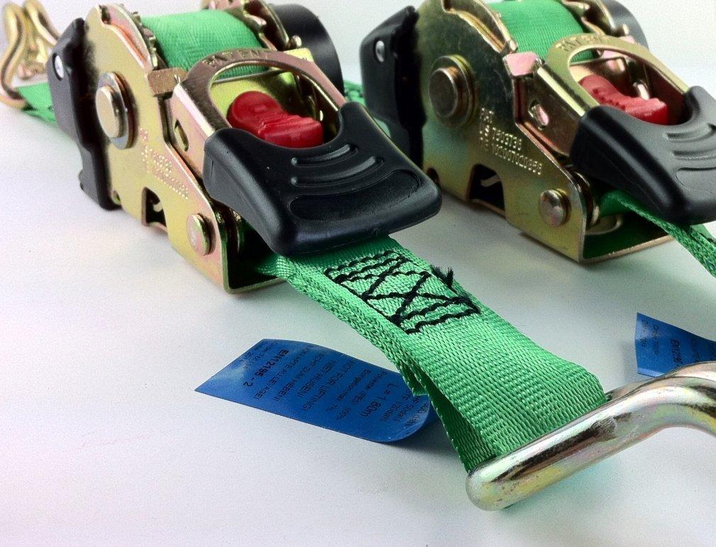 Paar iapyx/® 2Stk S Automatik Spanngurt selbstaufwickelnd Zurrgurt mit Aufrollautomatik Automatik Ratschenspanngurt Ratsche Gurt Ratschengurte 1,85m 600kg Umreifung EN 12195-2