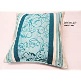 """Set Of 4 Goldstar® Embroidered Alta Faux Silk Cushion Cover 18"""" x 18"""" (Cream Teal)"""