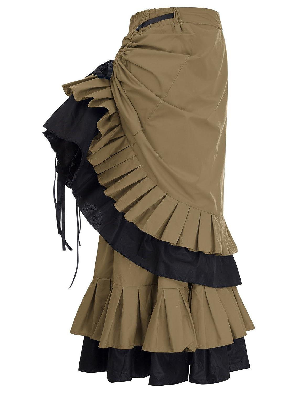 Belle Poque Women Gothic Victorian Edwardian Bustle Skirt for Halloween