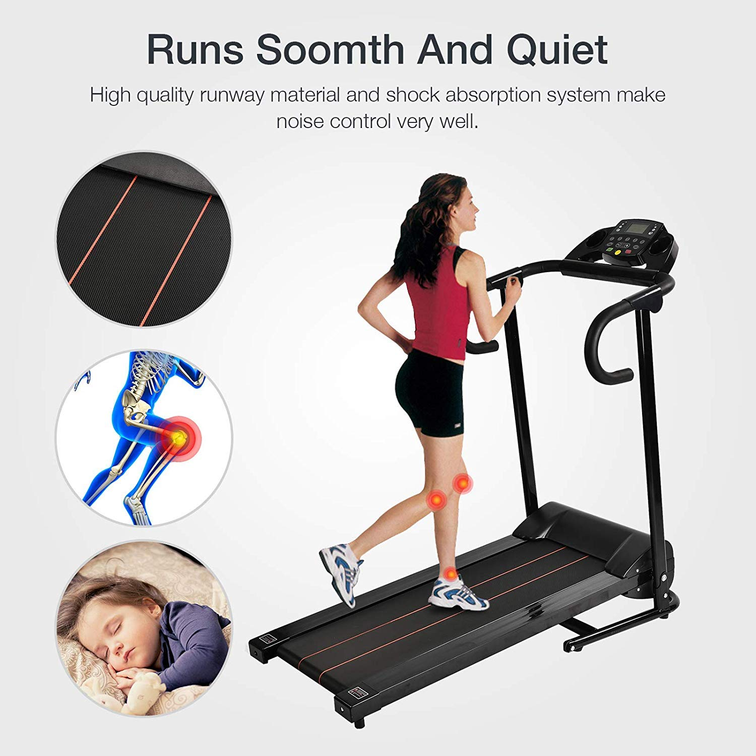 Murtisol 1100W Folding Treadmill Electric Walking Running Exercise Fitness Machine with LCD Display Easy Control Home Gym by Murtisol (Image #5)