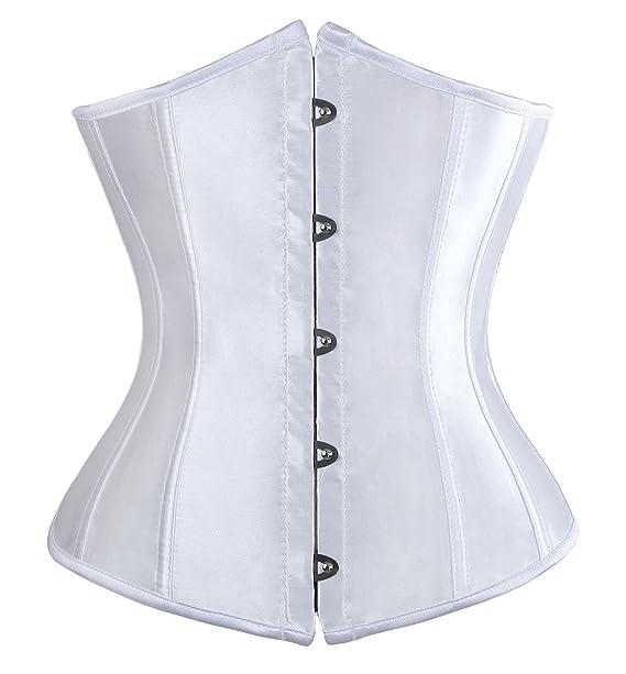 b58ac7af5c4 Charmian Women s Fashion Satin Waist Training Cincher Boned Underbust Corset  Bustier Top Plus Size White XXXXXX