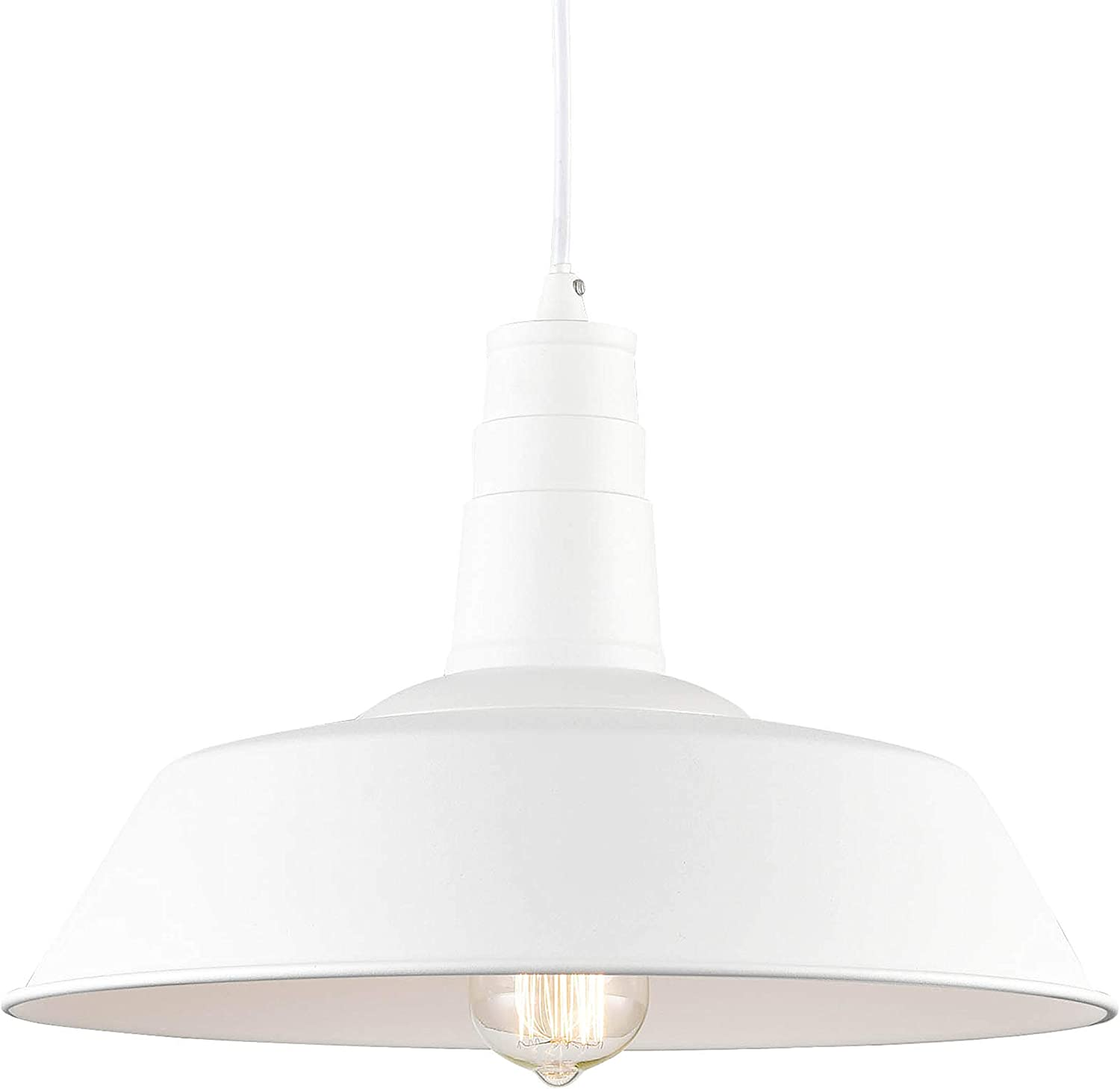 Light Society Kress Pendant Light, Matte White Shade with White Interior, Vintage Modern Industrial Farmhouse Lighting Fixture LS-C199-WHI