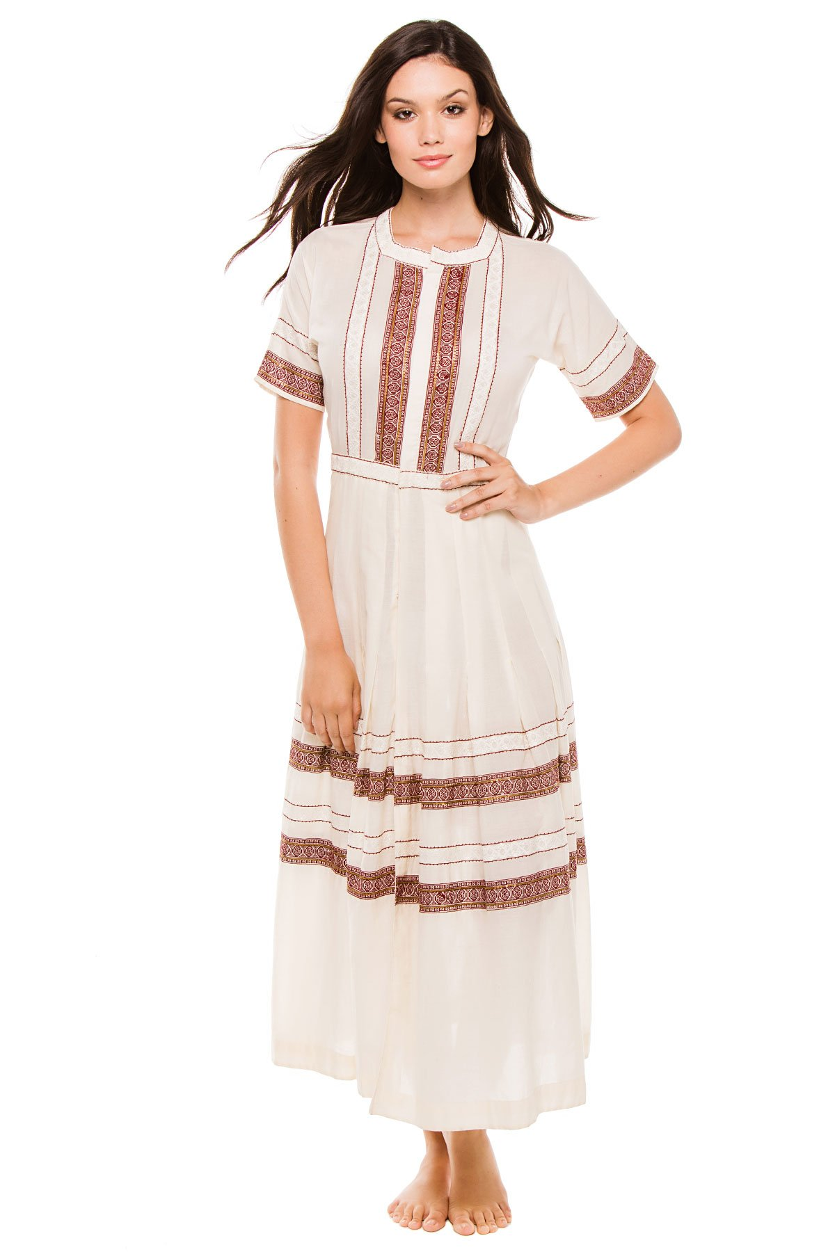 LoveShackFancy Women's Maxi Dress Swim Cover Up Antique White 1