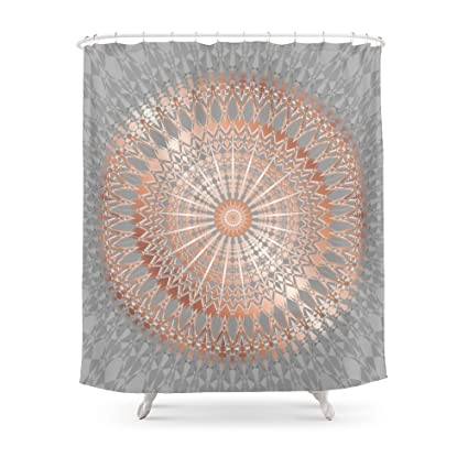 Society6 Rose Gold Gray Mandala Shower Curtain 71quot